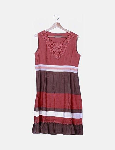 Vestido tricolor detalle crochet