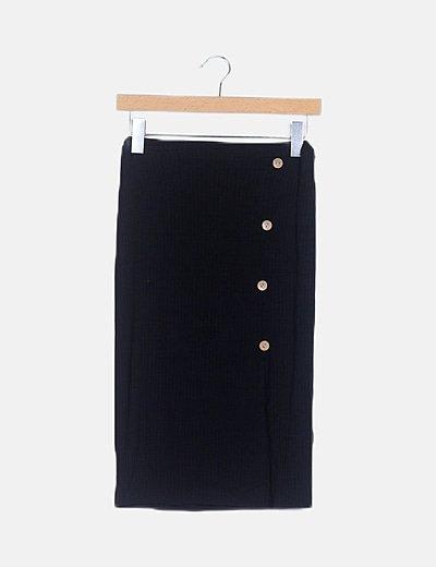 Conjunto crop top falda midi canalé