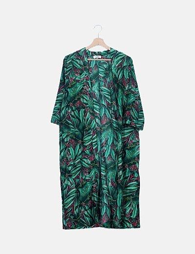 Kimono verde estampado