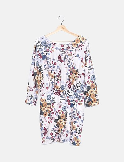 Vestido beige print floral