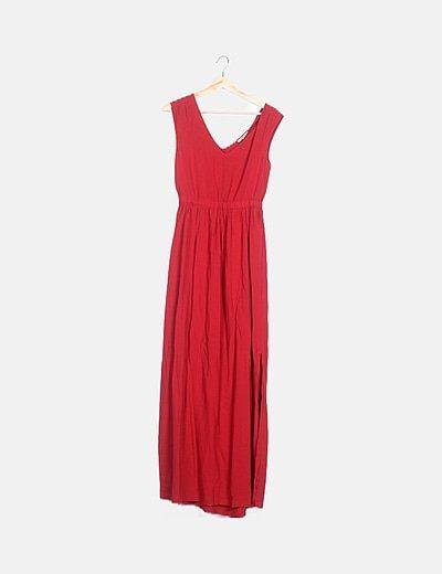 Vestido maxi rojo texturizado