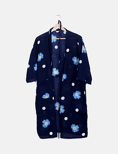 Kimono lino azul marino floral