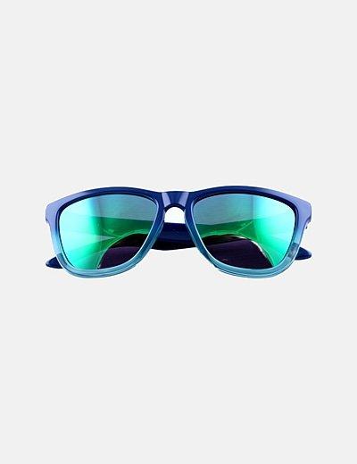 Gafas de sol montura azul cristal espejo