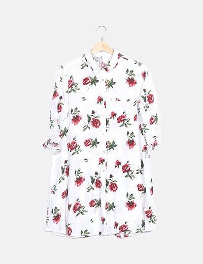 Vestido camisero blanco floral