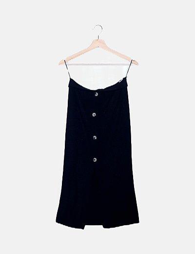 Falda canalé negra con botones