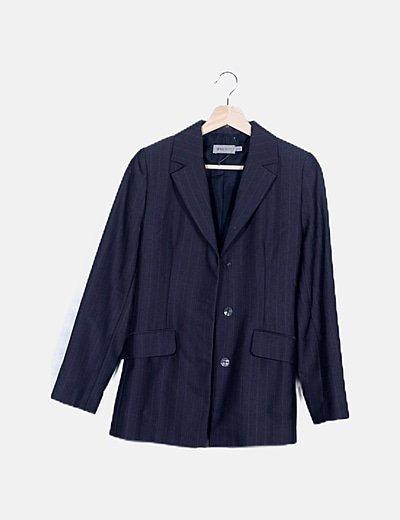 Conjunto de blazer y pantalón gris raya diplomática