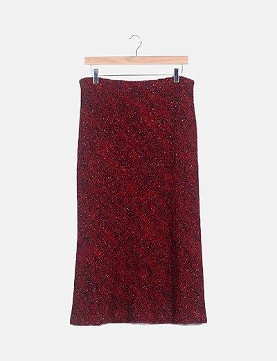 Falda larga de punto roja
