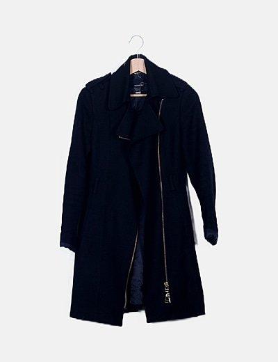 Abrigo largo con cremallera