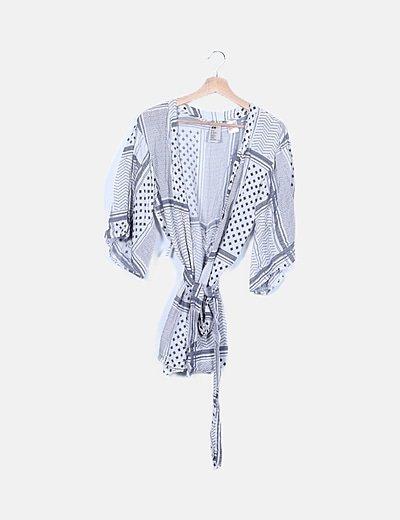 Kimono blanco estampado combinado