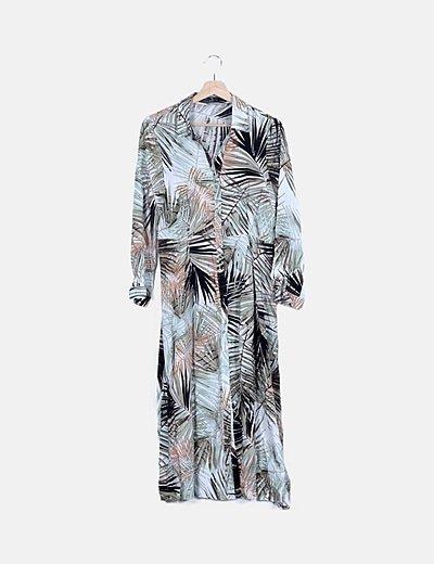 Vestido midi abotonado print tropical