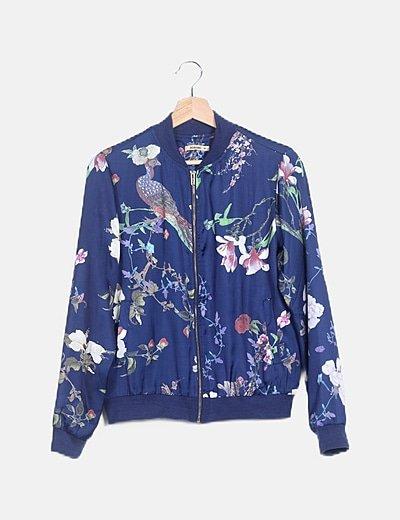 Bomber azul satinada print floral
