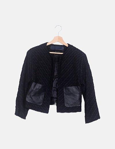 Cazadora negra tweed