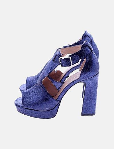 Zapato de tacón azul glitter