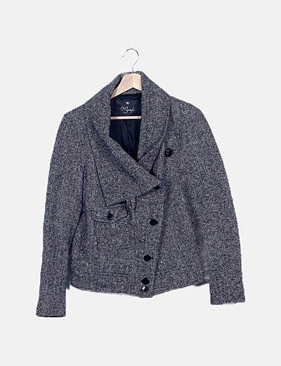 Abrigo negro punto rizado