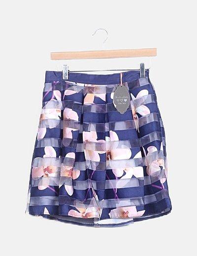 Conjunto blusa y falda floral rayas moradas