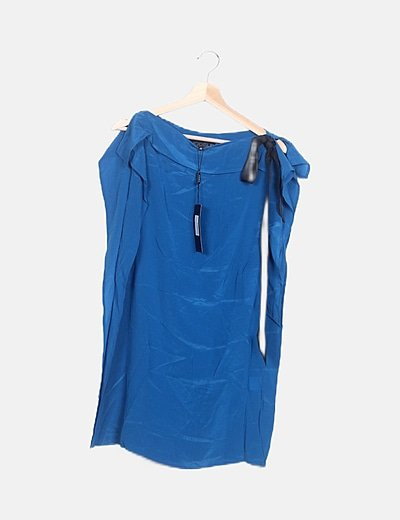 Blusa mariposa seda azul lazo