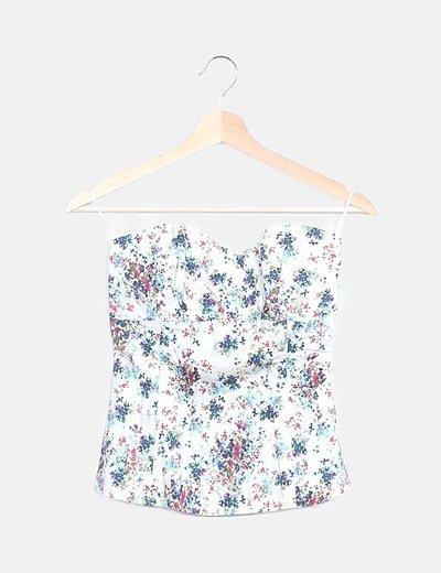Corpiño blanco print floral