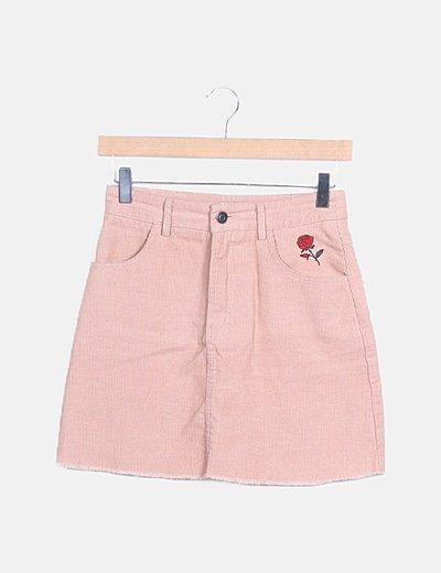 Falda mini rosa pana