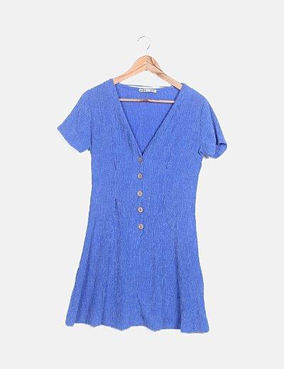 Vestido azul texturizado botones