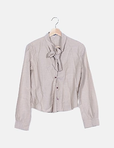 Camisa beige lace up