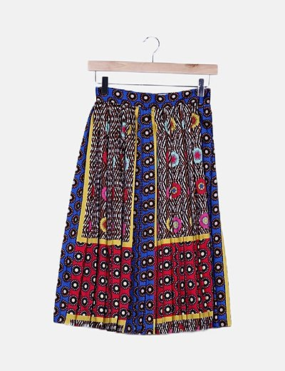 Falda maxi plisada multicolor