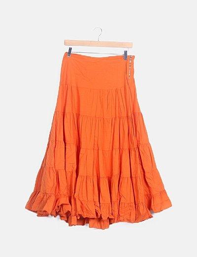 Falda de volantes naranja