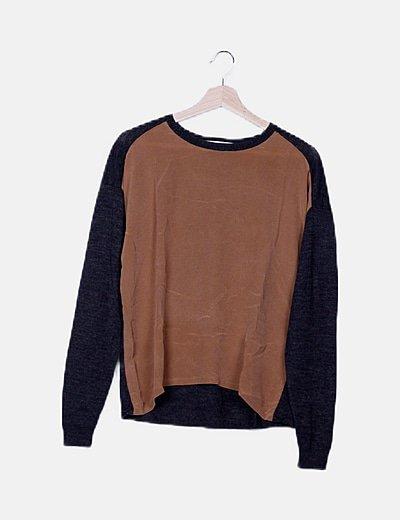 Suéter combinado bicolor
