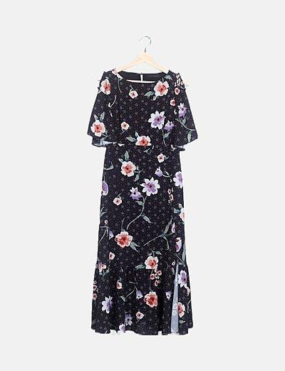 Vestido negro estampado floral