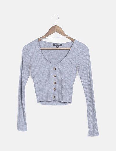 Suéter canalé gris