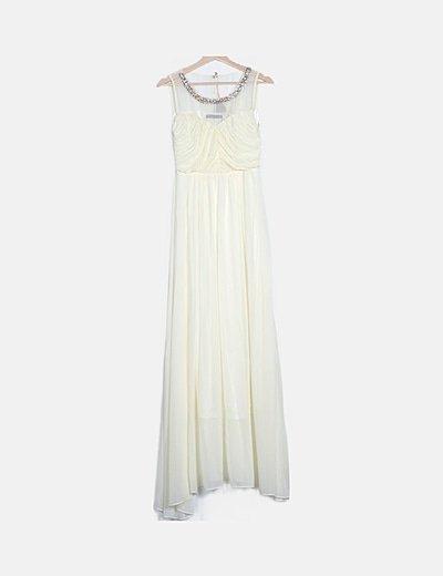 Vestido largo plisado beige con strass