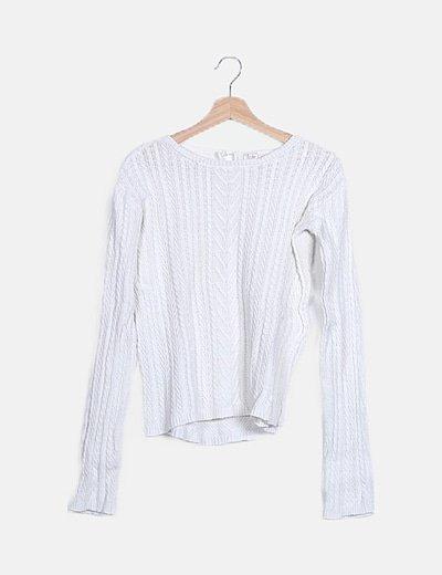 Jersey blanco de punto trenzado
