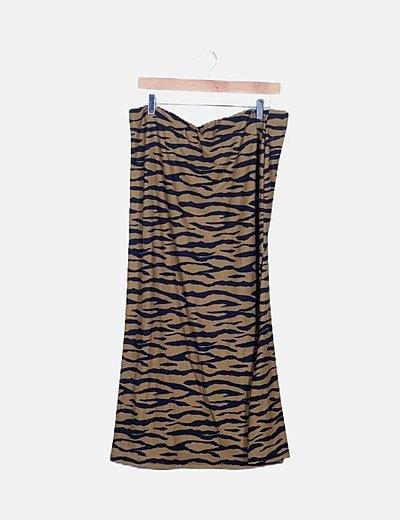 Falda marrón animal print