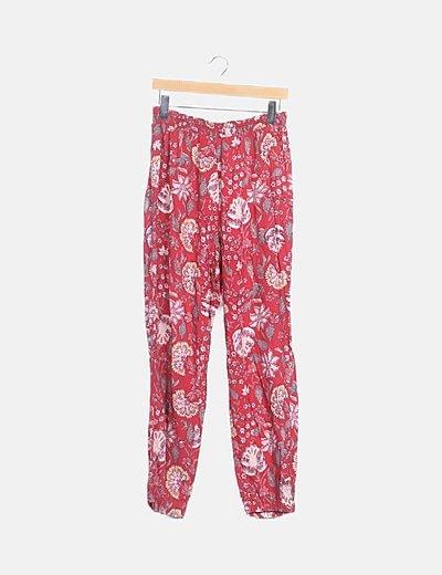 Pantalón rojo floral baggy