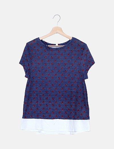 Camiseta bicolor estampado combinado