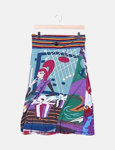 Falda elástica estampada
