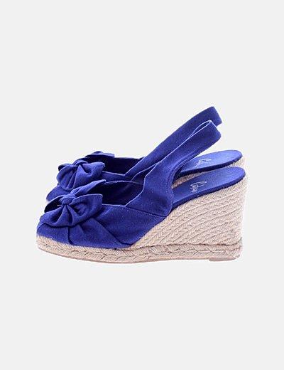Sandalia cuña azul