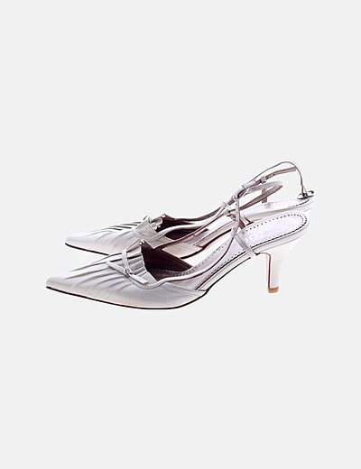 Zapato tacón irisado beige