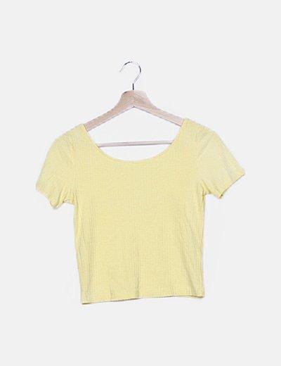 Top amarillo canalé