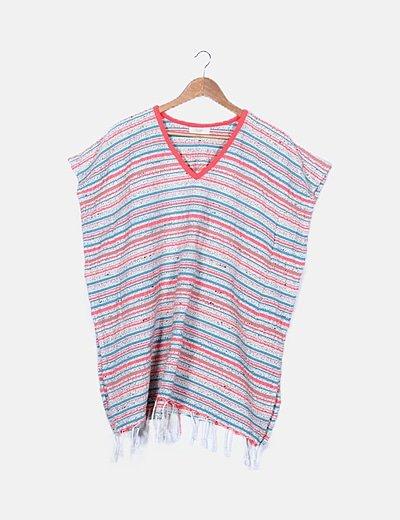 Poncho tricot multicolor