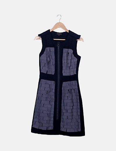 Vestido midi bicolor detalles con cremallera
