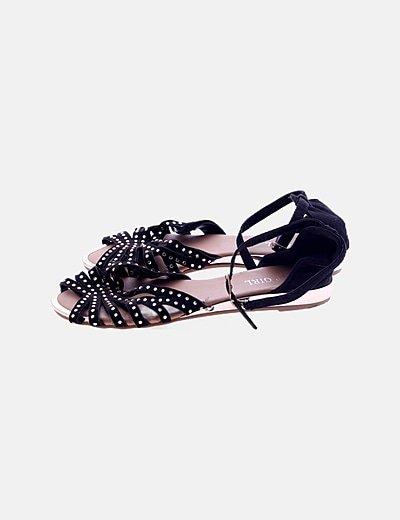 Sandalia plana negra pulsera detalle strass