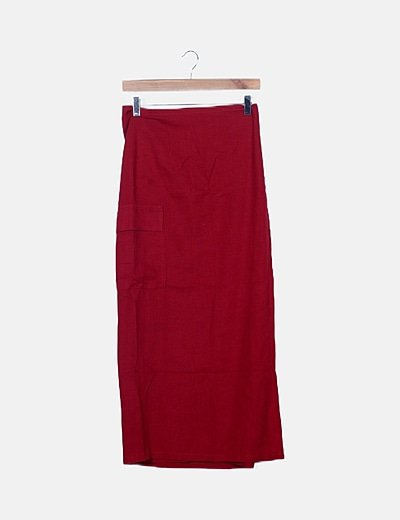 Falda roja maxi