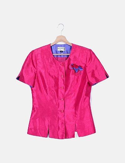 Conjunto camisa y falda fucsia satinada