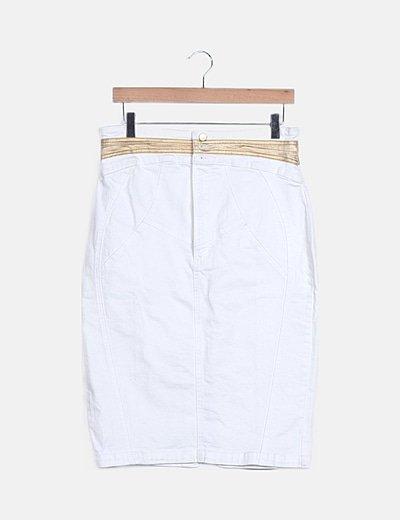 Falda denim blanca