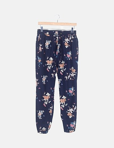 Pantalón baggy azul marino floral