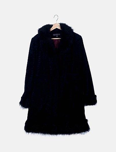 Abrigo negro terciopelo maxi