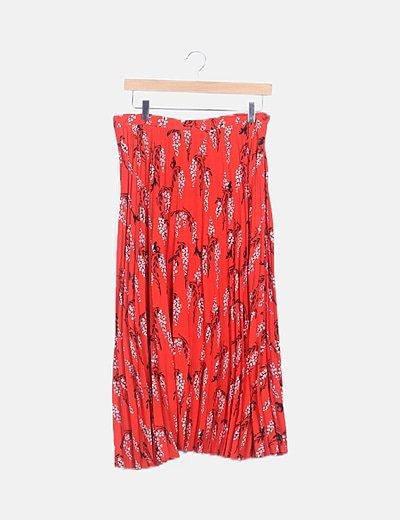 Falda maxi roja plisada floral