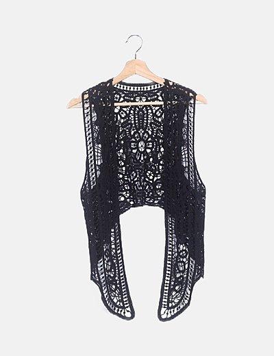Chaleco crochet negro