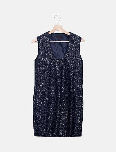 Vestido bicolor paillettes