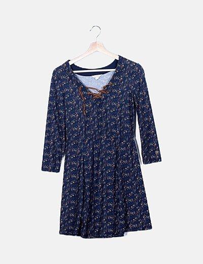 Vestido azul canalé estampado floral